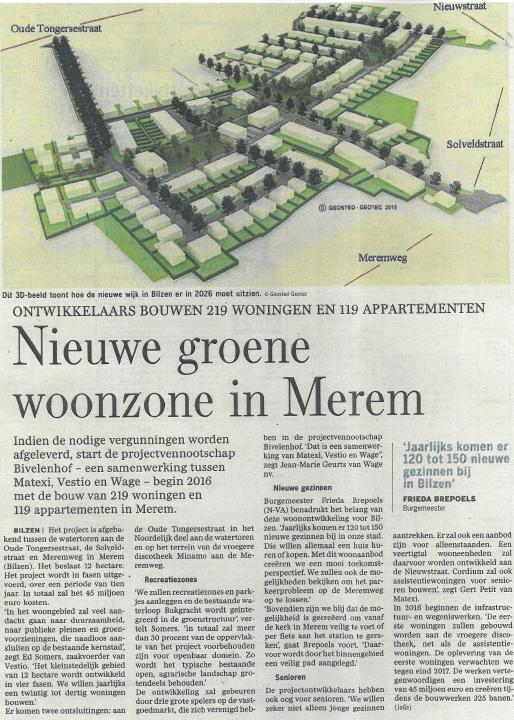 Bivelen Park Bilzen krantenartikel
