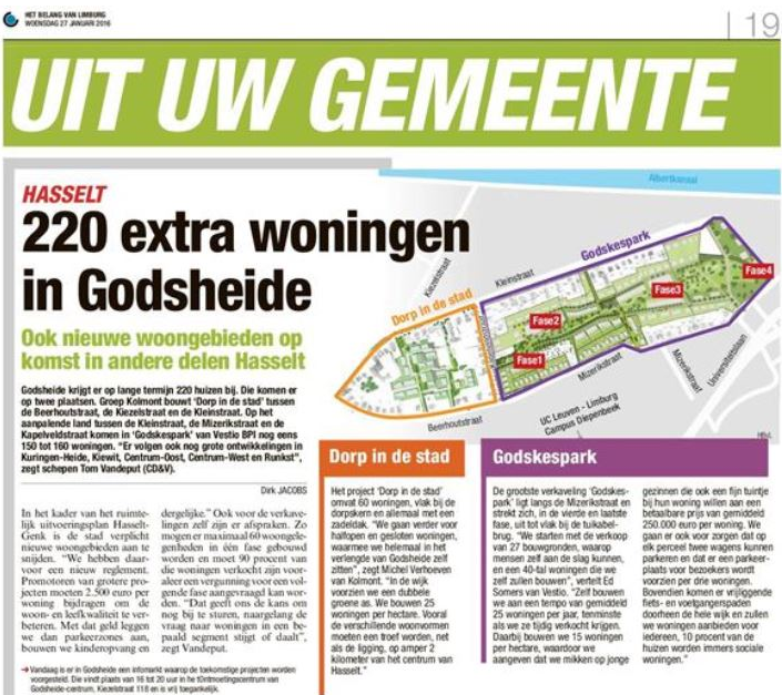 Godskespark Hasselt krantenartikel