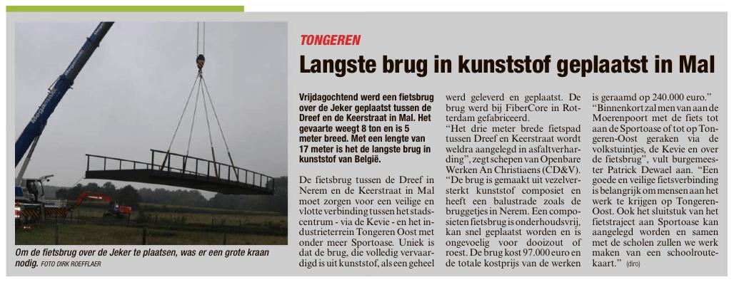 Langste brug in kunststof geplaatst in Mal