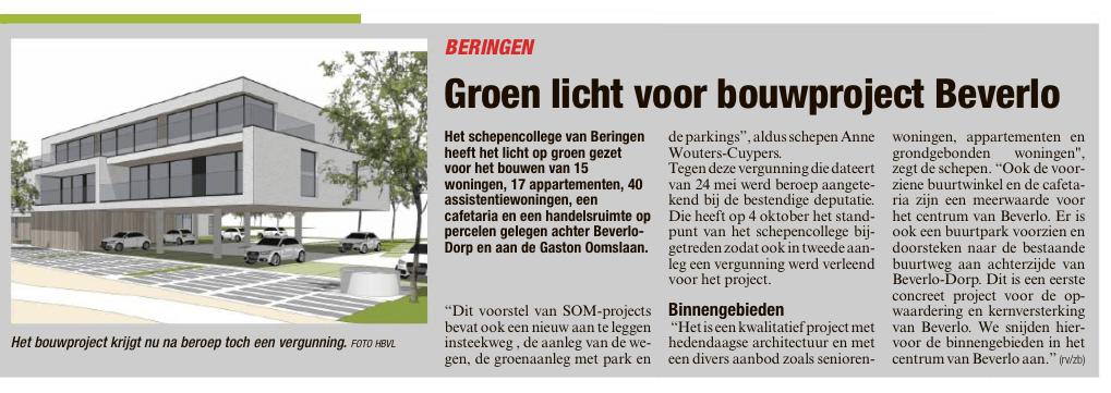 Groen licht voor bouwproject Beverlo