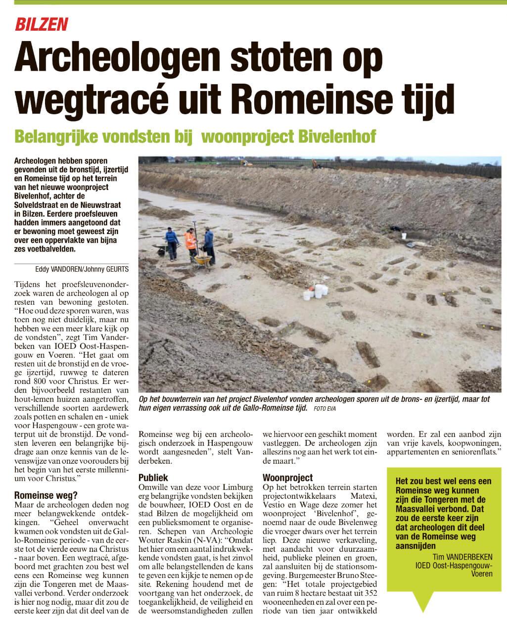 Archeologen stoten op wegtracé uit Romeinse tijd